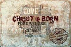 Christus ist geborener Weihnachtshintergrund Stockbild