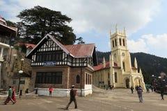 Christus-Kirche in der Stadt von Shimla Stockbilder