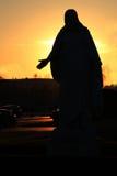 Christus, Mount Vernon Cemetery, California, U.S. The silhouette of the Christus statue stands on the sunset in Mount Vernon, California, US stock photo