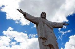 Christus statue Cusco - Peru South America. Christus statue Cusco with blue sky - Peru South America royalty free stock images