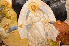 Christus zieht Adam und Eve von der Unterwelt, ein altes fresc Stockfoto