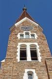 Christuskirche的塔在温得和克全景,纳米比亚 免版税库存图片
