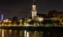Christuskirche i Salzburg vid natt royaltyfri bild
