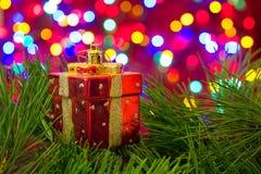 Chritmas树玩具,箱子礼物 图库摄影