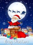 Chritmas allegro Santa e carta dei presente illustrazione di stock