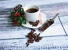 Chritmas coffee with beans Royalty Free Stock Photography