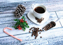 Chritmas coffee with beans Royalty Free Stock Image