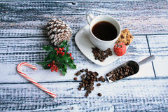 Chritmas coffee with beans with cookies Stock Photos