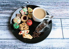 Chritmas cookie plate with coffee Stock Photography