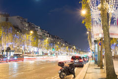 Chritmas decoration on Champs Elysees avenue. Royalty Free Stock Photos