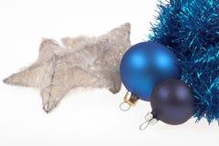 Chritmas decoration elements. Christmas decoration elements balls, garland and stars on white Stock Photo