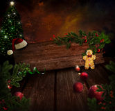 Chritmas design - Night Xmas tree Royalty Free Stock Image