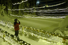 Chritmas Lights in Grouse Mountain Royalty Free Stock Photography