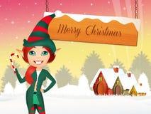Chritmas poscard. Illustration of elf at Chritmas Stock Photos