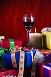 Chritmas presents and drink Royalty Free Stock Photos