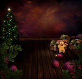 Chritmas projekt - Noc Xmas drzewo ilustracja wektor