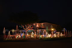 Chritsmas light. Beautiful home house Christmas lights lighting stock photo