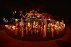 Chritsmas light. Beautiful home house Christmas lights lighting royalty free stock photography