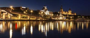 Chrobry Embankment in Szczecin (Stettin) City at night, Poland. Royalty Free Stock Photos