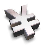 Chrom 3D Yensymbol Lizenzfreie Stockbilder