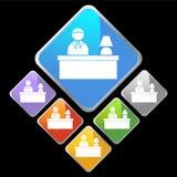 Chrom-Diamant-Ikonen - Schreibtisch Stockfotos