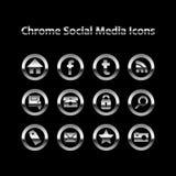 Chrom-glühende Sozialmedia-Ikonen stockbild
