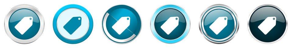 Chrom-Grenzikonen der Aufkleberkarte silberne metallische in 6 Wahlen, eingestellt von den blauen runden Knöpfen des Netzes lokal lizenzfreie abbildung
