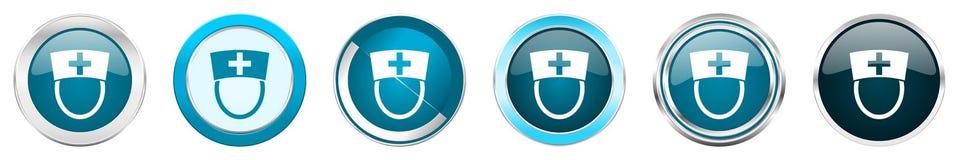 Chrom-Grenzikonen der Krankenschwester silberne metallische in 6 Wahlen, eingestellt von den blauen runden Knöpfen des Netzes lok lizenzfreie abbildung