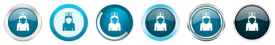 Chrom-Grenzikonen der Krankenschwester silberne metallische in 6 Wahlen, eingestellt von den blauen runden Kn?pfen des Netzes lok vektor abbildung
