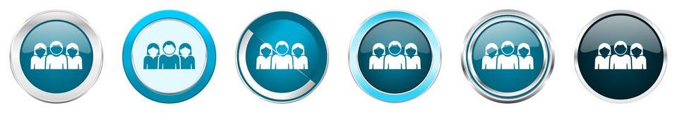 Chrom-Grenzikonen der Leute silberne metallische in 6 Wahlen, eingestellt von den blauen runden Knöpfen des Netzes lokalisiert au stock abbildung