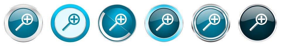 Chrom-Grenzikonen der Linse silberne metallische in 6 Wahlen, Satz blaue runde Knöpfe des Netzes lokalisiert auf weißem Hintergru lizenzfreie abbildung