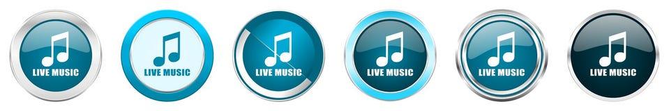 Chrom-Grenzikonen der Live-Musik silberne metallische in 6 Wahlen, eingestellt von den blauen runden Knöpfen des Netzes lokalisie lizenzfreie abbildung