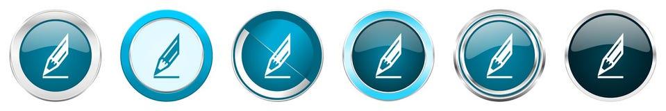 Chrom-Grenzikonen des Bleistifts silberne metallische in 6 Wahlen, eingestellt von den blauen runden Kn?pfen des Netzes lokalisie stock abbildung