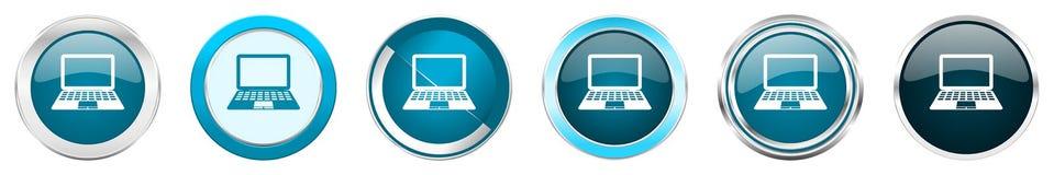 Chrom-Grenzikonen des Computers silberne metallische in 6 Wahlen, Satz blaue runde Knöpfe des Netzes lokalisiert auf weißem Hinte stock abbildung