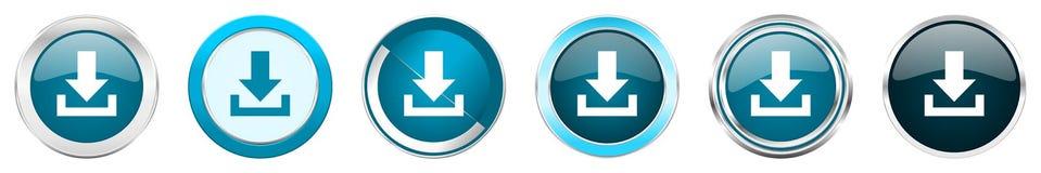 Chrom-Grenzikonen des Downloads silberne metallische in 6 Wahlen, eingestellt von den blauen runden Knöpfen des Netzes lokalisier lizenzfreie abbildung