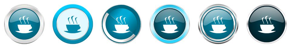 Chrom-Grenzikonen des Espressos silberne metallische in 6 Wahlen, eingestellt von den blauen runden Kn?pfen des Netzes lokalisier vektor abbildung
