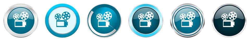 Chrom-Grenzikonen des Films silberne metallische in 6 Wahlen, Satz blaue runde Knöpfe des Netzes lokalisiert auf weißem Hintergru vektor abbildung