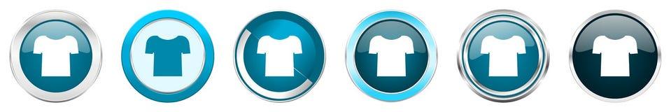 Chrom-Grenzikonen des Hemdes silberne metallische in 6 Wahlen, Satz blaue runde Knöpfe des Netzes lokalisiert auf weißem Hintergr vektor abbildung