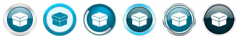 Chrom-Grenzikonen des Kastens silberne metallische in 6 Wahlen, eingestellt von den blauen runden Kn?pfen des Netzes lokalisiert  lizenzfreie abbildung