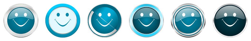 Chrom-Grenzikonen des Lächelns silberne metallische in 6 Wahlen, eingestellt von den blauen runden Knöpfen des Netzes lokalisiert lizenzfreie abbildung
