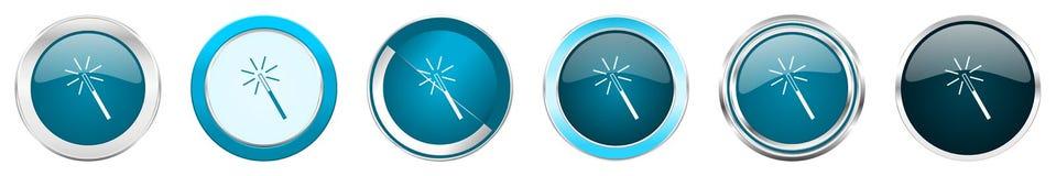 Chrom-Grenzikonen des magischen Stabs silberne metallische in 6 Wahlen, eingestellt von den blauen runden Knöpfen des Netzes loka vektor abbildung