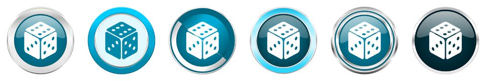 Chrom-Grenzikonen des Spiels silberne metallische in 6 Wahlen, Satz blaue runde Knöpfe des Netzes lokalisiert auf weißem Hintergr stock abbildung