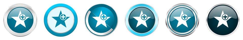 Chrom-Grenzikonen des Sternes silberne metallische in 6 Wahlen, eingestellt von den blauen runden Knöpfen des Netzes lokalisiert  stock abbildung