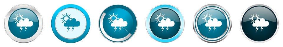 Chrom-Grenzikonen des Sturms silberne metallische in 6 Wahlen, eingestellt von den blauen runden Knöpfen des Netzes lokalisiert a vektor abbildung