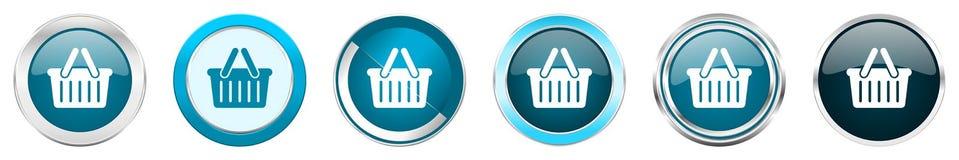 Chrom-Grenzikonen des Wagens silberne metallische in 6 Wahlen, eingestellt von den blauen runden Kn?pfen des Netzes lokalisiert a lizenzfreie abbildung
