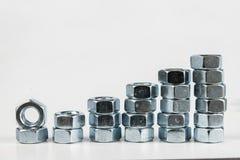 Chrom nakrętki na białym stole Akcesoria dla wspinać się stalowego str zdjęcie royalty free