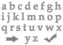Chrom-Zeichen-Alphabet-Kleinschreibung stock abbildung