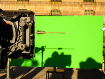 Chroma key. Cinematographic technique of integration of objects in image Royalty Free Stock Photography