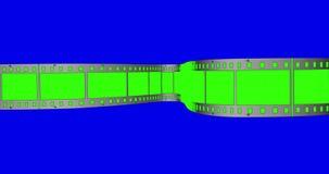Chroma key green screen film movie strip scrolling on blue chroma background,