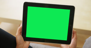 Chromakey on tablet. Closeup of Chromakey on tablet Stock Photography